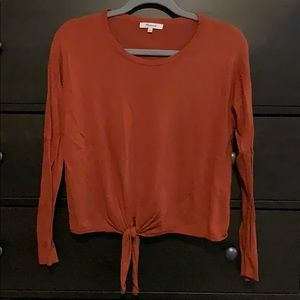Madewell Modern Tie-Front sweater sz M in rust